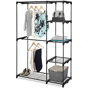 Whitmor Freestanding Portable Closet Organizer U2013 Heavy Duty Black Steel  Frame   Double Rod Wardrobe Cloths