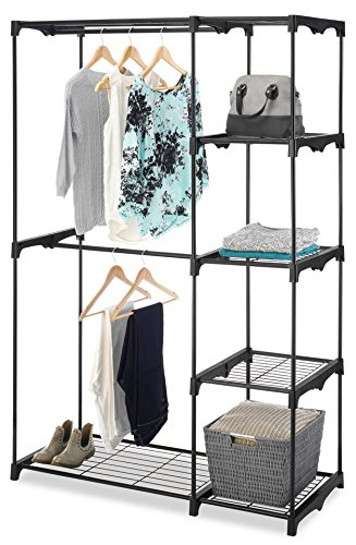 "Wood Dresser N Mirror (Whitmor Freestanding Portable Closet Organizer – Heavy Duty Black Steel Frame - Double Rod Wardrobe Cloths Storage With 5 Shelves & Shoe Rack for Home or Office – Size: 45-1/4 x 19-1/4 x 68"")"