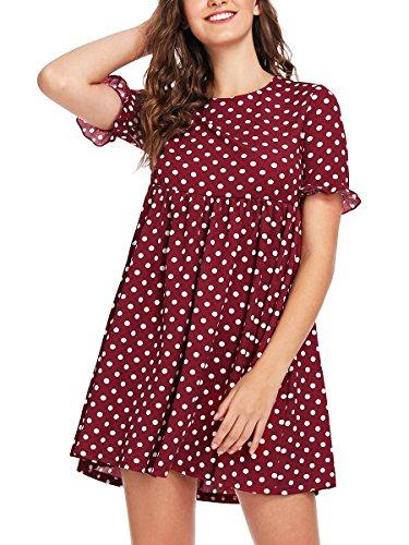 - Romwe Women's Loose Short Sleeve Polka Dot Flare Swing Party Dress Red S