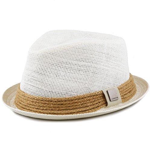 THE HAT DEPOT Womens Short Brim Sun Straw Fedora Hat with Raffia Band (M (S/M/L), White)