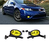 VioGi Fit:06-08 Honda Civic 2-Door Coupe Yellow Lens Fog Lights Kit w/ Bulbs+Switch+Wiring Harness+Relay+Bracket+Necessary Mounting Hardware by VioGi