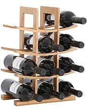 Gräfenstayn® Wijnrek Porto - van bamboehout voor 12 wijnflessen - grootte 30x16x42 cm (LxBxH) wijnflessenhouder wijnkist flessenrek