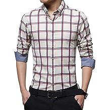 jeansian Men's Fashion Casual British Lattice Slim Fit Shirts MAH011