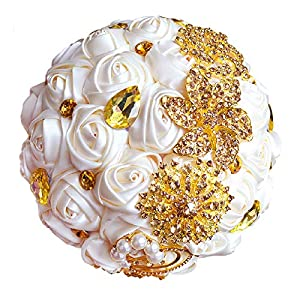 Abbie Home Advanced Customization Romantic Bride Wedding Holding Toss Bouquet Rose Brooch with Pearls and Rhinestone decorative brooches Accessories-Multi color selection (336WG) 7