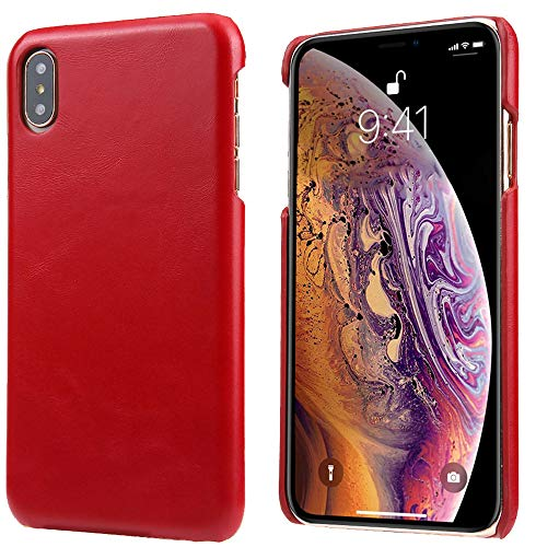 iPhone X/iPhone Xs Leather Case, Reginn Slim Fit Phone Cover [Wireless Charging Compatible] Genuine Leather Case for iPhone X/iPhone Xs (Ruby Red) ()