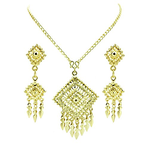 [Siwalai Thai Traditional Gold Plated Necklace Earrings Bracelet Jewelry Set 20 Inches] (Thai Dance Costume)