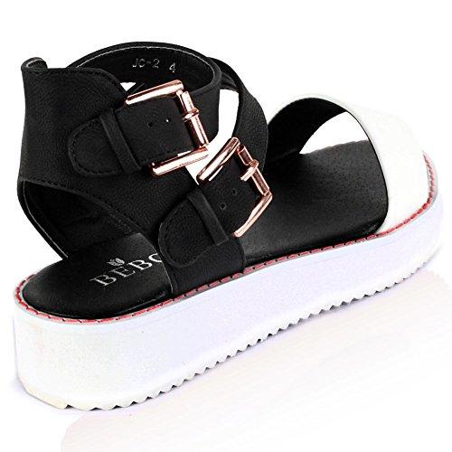 Saute Styles - Sandalias de vestir para mujer blanco y negro