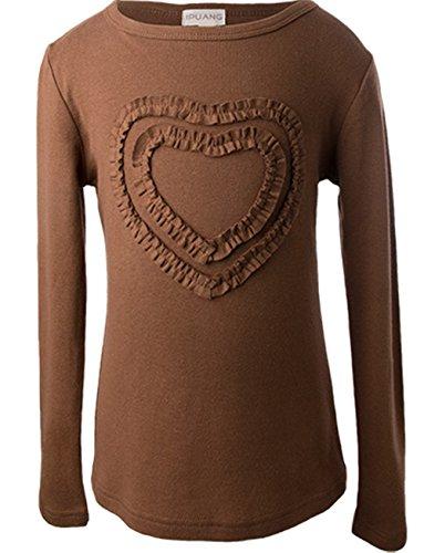 Ipuang Big Girls' Heart-Shaped Long Sleeve T-Shirt 7 Brown -