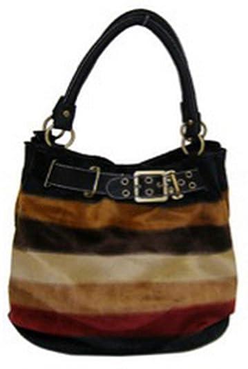 8631c5948d Amazon.com  Designer Inspired Faux Fur Striped Hobo Purse (Black)  Shoes