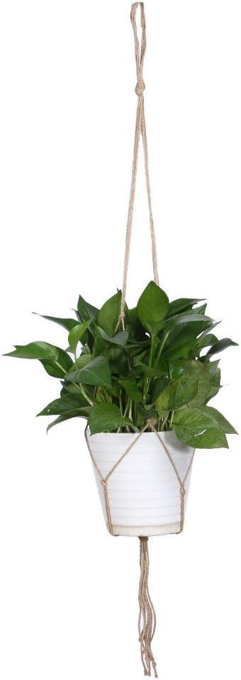 Jocestyle Garden Pot Lifting Rope Indoor Outdoor Macrame Plant Hanger Hanging Planter Basket Flower Pot Holder Style A
