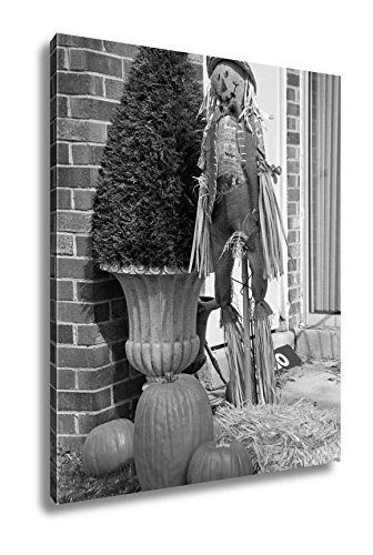 Ashley Canvas Closeup of A Halloween Decoration with Pumpkins Cloth Scarecrow and Hay Near, Kitchen Bedroom Living Room Art, Black/White 30x24, AG6471826 -