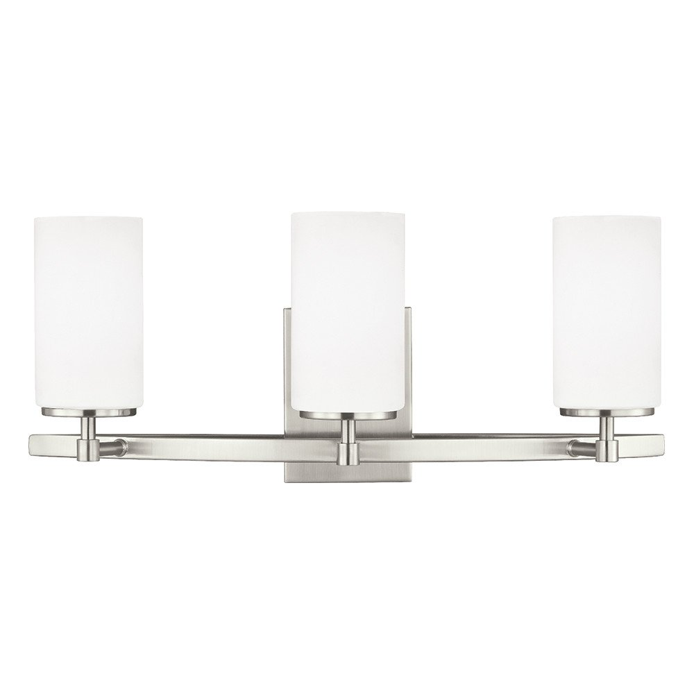 Sea Gull Lighting 4424603-962 Alturas Three Bath or Wall Fixture with Etched White Inside Glass Shades, Brushed Nickel Finish