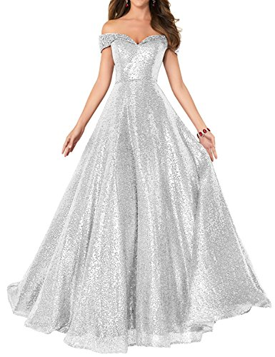 2018 Off Shoulder Sequined Prom Party Dresses for Women A Line Empire Waist Robes Plus Size Formal Evening Skirts Long Elegant Gowns SHPD41 Silver Size 16