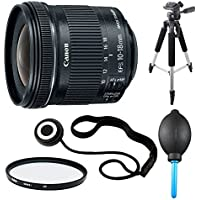 Canon EF-S 10-18mm F4.5-5.6 IS STM Lens, Filter, and Tripod Bundle - Includes Lens, Lens Cap Keeper, 57 Full Size Tripod, and Dust Blower