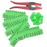 WGCD 1-100 Number Plastic Livestock Cow Cattle Ear Tag Animal Tag and 1pcs Ear Tag Applicator (Green)
