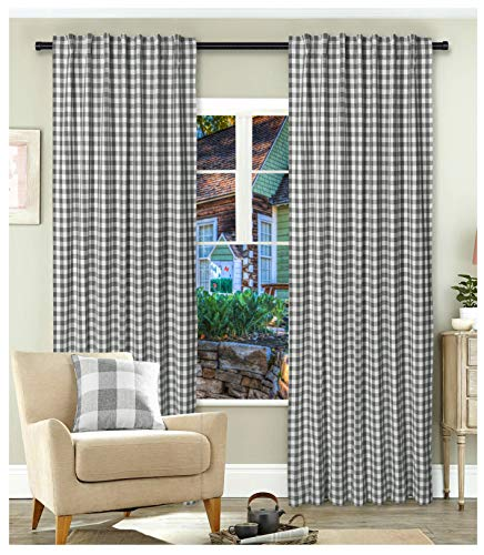 Gingham Check Window Curtain Panel, 100% Cotton, Charcoal/White, Cotton Curtains, 2 Panels Curtain, Tab Top Curtains, 50x84 Inches, Set of 2 - Tab Top Curtain Set