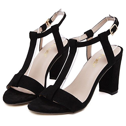 Correa Negro Sandalias COOLCEPT Punta Fiesta T Tacon Out Ancho Vestir Travail Mujer Abierta En Zapatos Moda Cut for alto qUr0RU