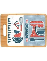 Retro Kitchen Décor Cute Baking Supplies 50s Kitchen Décor Full Color Rectangle Bamboo Cutting Board