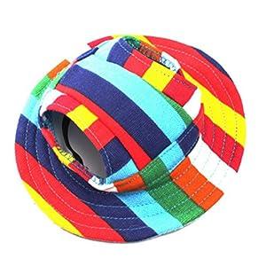 WINOMO Round Brim Pet Cap Visor Hat Pet Dog Mesh Porous Sun Cap with Ear Holes for Small Dogs - Size M (Colorful Stripe)