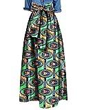 Winwinus Womens African Print Bow Waist Pendulum Dashiki Simple Long Skirt 7 6XL