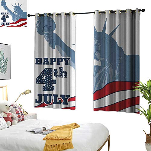 4th of July Thermal Curtains Festive Independence Day Design with Old Glory Stripes and Stars Lady Liberty 63