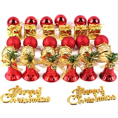 Loveinusa Gold Christmas Tree Ball Ornaments Set Mixed Christmas Ball Pendant Xmas Tree Decorations Red Gold