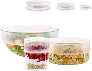 Lekue Set of 3 Flexible, one Each of 20cm, 15cm, & 11.5cm set of reusable lids, Three, frost