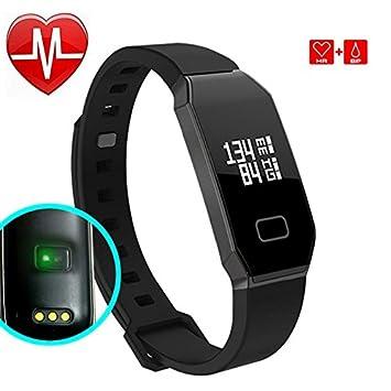 Pulsera Actividad de la Aptitud con el Monitor del ritmo cardíaco, bluetooth elegante Pulsera impermeable Perseguidor ...