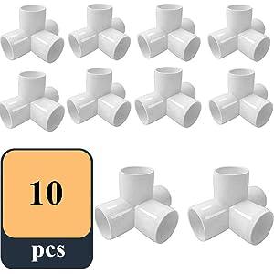 """Sasonco PVC Elbow Corner Side Outlet Tee Fitting Tee PVC Fitting Elbow PVC Elbow Corner Side Outlet Tee Fitting PVC Elbow Fittings (4 Way 3/4"""", 10)"""