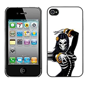 Shell-Star Arte & diseño plástico duro Fundas Cover Cubre Hard Case Cover para Apple iPhone 4 / iPhone 4S / 4S ( Skull Bride Woman Gold White Black )