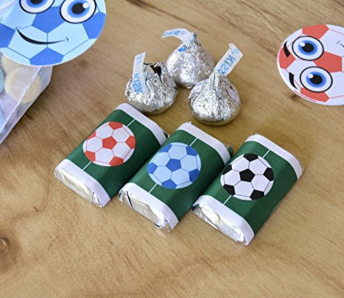 Hershey Bar Label - 54 Soccer Candy Stickers, Soccer Gift Favors Labels, Soccer Party Favor Candy Wrappers