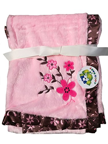 2 Ply Baby Girl Delicate Blanket with Brown Satin Trim, Floral Embroidery, 30