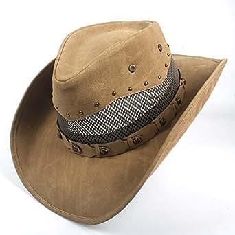 HaiNing Zheng Western Cowboy Hat For Men Women Cowgirl Jazz Cap Wide Brim Sun Caps Sombrero (Color : Natural, Size : 57-59CM)