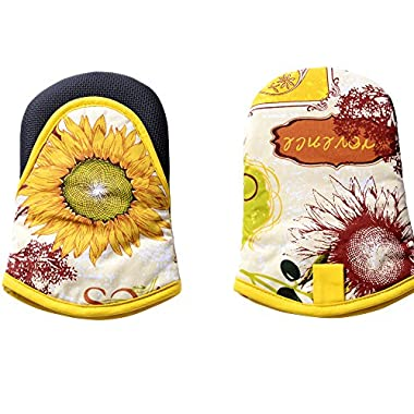 VAPSINT® Professional 100% Cotton Yellow Funny Oven Cooking& BBQ Heat Resistant Home Run Sunflower Oven Mitts, Washable Cute Flame Retardant Kitchen Glove