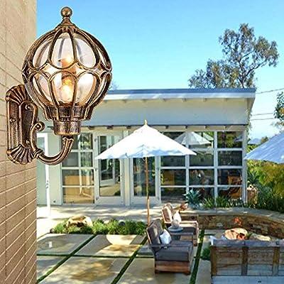 Luces de Pared Al Aire Libre Linterna de Pared Exterior Aleación de Aluminio Vintage Globe Ball Pantalla Pantalla de Pared para Exterior Jardín Decorativo Terraza Puerta Interior Exterior, Bronce Alt: Amazon.es: Deportes