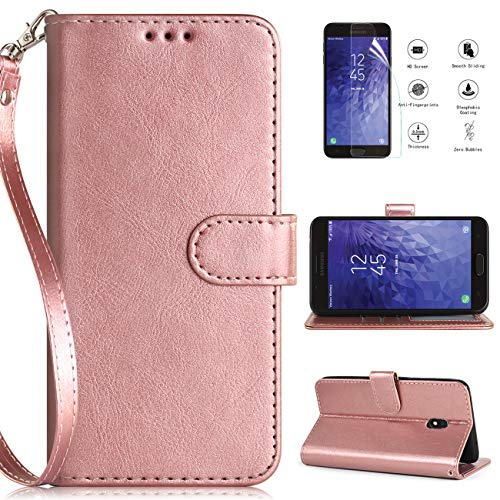 Case for Samsung Galaxy J7 Refine Case Wallet,Galaxy J7 2018 Case,J7V J7 V 2nd Gen/J7 Star Case Wallet wScreen Protector,[Kickstand][Card Slots][Wrist Strap] Leather Cover for Wen/Women/Girls-RoseGold