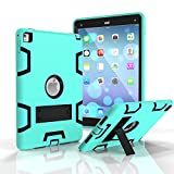 Onway Stylish Silicone Rubber PC Shockproof Bumper Drop Resistance Kickatand Back Cover Case For iPad Pro 9.7 9.7Inth Green