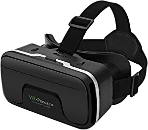 Pecosso VR Headset Compatible with iPhone and Android Phones VR Set Incl. Remote Control for Android Smartphones 3D Virtual Reality Goggles Adjustable VR Glasses - Gift for Kids and Adults
