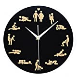 FAVOLOOK Personality Sex Quartz Movement Wall Clock Wall with Sex Position Clock Battery Operated, Release Pressure Sex Moment Decoration Novelty Home for Young Couple in Love