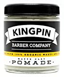 Organic Hair Pomade, Matte Finish, by Kingpin Barber Co. | All-Day Strong Hold | Low Shine | Signature Scent, 4.4oz.