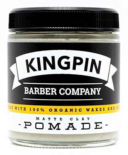 Price comparison product image Organic Hair Pomade,  Matte Finish,  by Kingpin Barber Co. / All-Day Strong Hold / Low Shine / Signature Scent,  4.4oz.