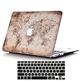 Lykoko Matte Plastic Hard Case Cover with Keyboard Cover for MacBook Air 13 Inch (Models: A1369 and A1466) (World Map #2)