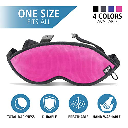 (Lewis N Clark Comfort Eye Mask + Sleep Aid to Block Light for Travel, Airplane, Hotel, Airport, Insomnia + Headache Relief with Adjustable Straps, Pink )