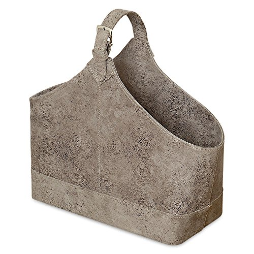 Whole House Worlds The Tribeca Magazine Holder Rack, Lush Gray Faux Suede, Top Handle, Silver Buckle And, Stitched Details, Roomy Stylish Storage 15 3/4 Inches Long By