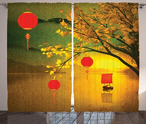 Ambesonne Lantern Decor Curtains by, Traditional Chinese Lanterns Hanging from Pale Fall Trees over the Lake Faded Nature Photo, Living Room Bedroom Decor, 2 Panel Set, 108 W X 84 L Inches, Multi ()