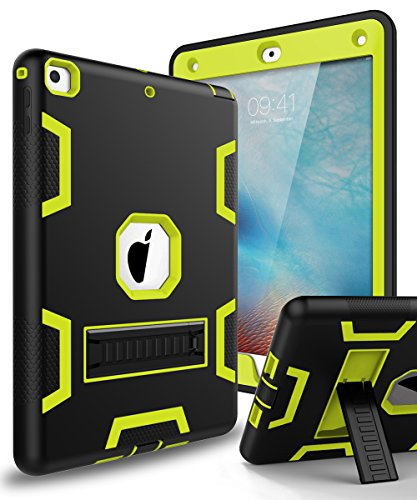XIQI New iPad 9.7 2018 Case,iPad 6th Generation Case Three Layer Kickstand Armor Defender Heavy Duty Shockproof Rugged Hybrid Protective Case for Apple iPad 9.7 2017/2018 Release,Black Lemony Green