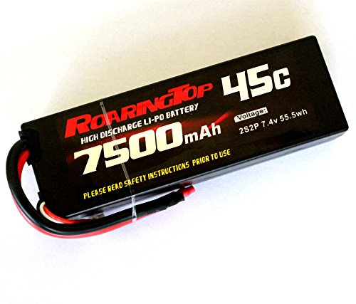 RoaringTop LiPo Battery Pack 45C 7500mAh 2S2P 7.4V HardCase with leads out for RC Car Boat Truck Airplane