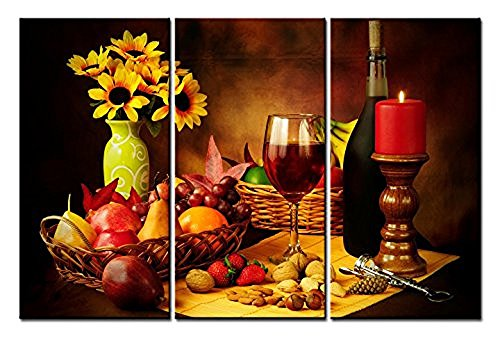 Forever Framed Panel Print - Forever With Me Food Paintings Wall Art Fruit and Red Wine Beside candlestick 3 Panels Picture Print on Canvas for Modern Home Decoration