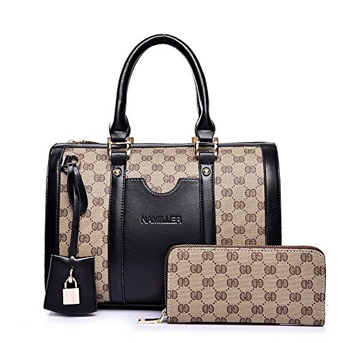 Women Handbag,Women Bag, KINGH Vintage PU Leather Shoulder Bag Purse 2 PCS Set Bag 089 Black