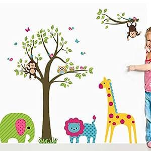 GIRAFFE MONKEY GREEN TREE WALL STICKER
